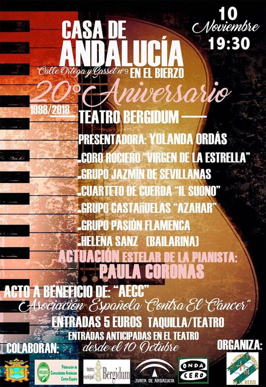 Cartel 20 aniversario Casa de Andalucía en El Bierzo