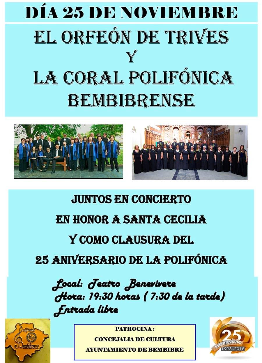 cartel concierto santa cecilia y cierre 25 aniversario coral polifonica bembibrense bembibre el bierzo