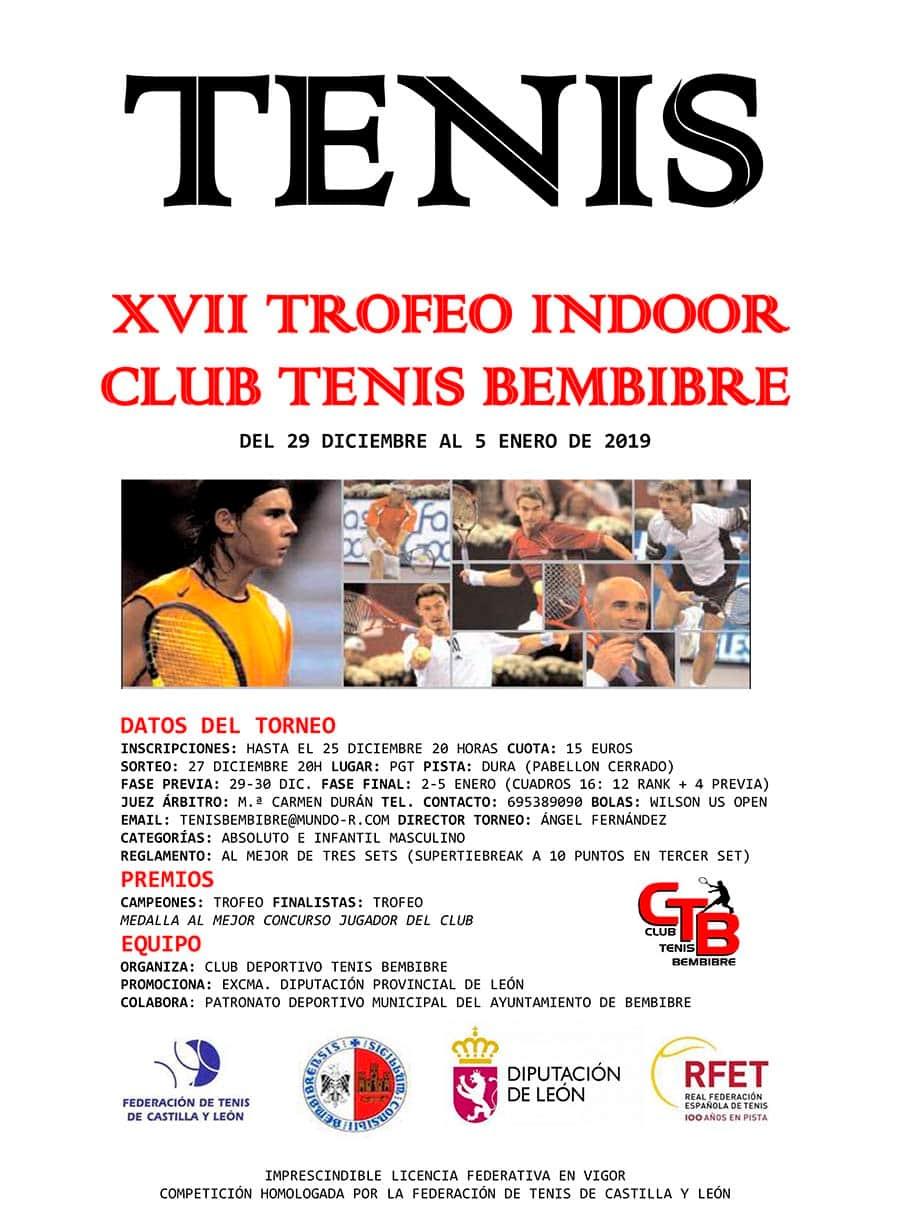cartel xvii trofeo indoor club tenis bembibre el bierzo