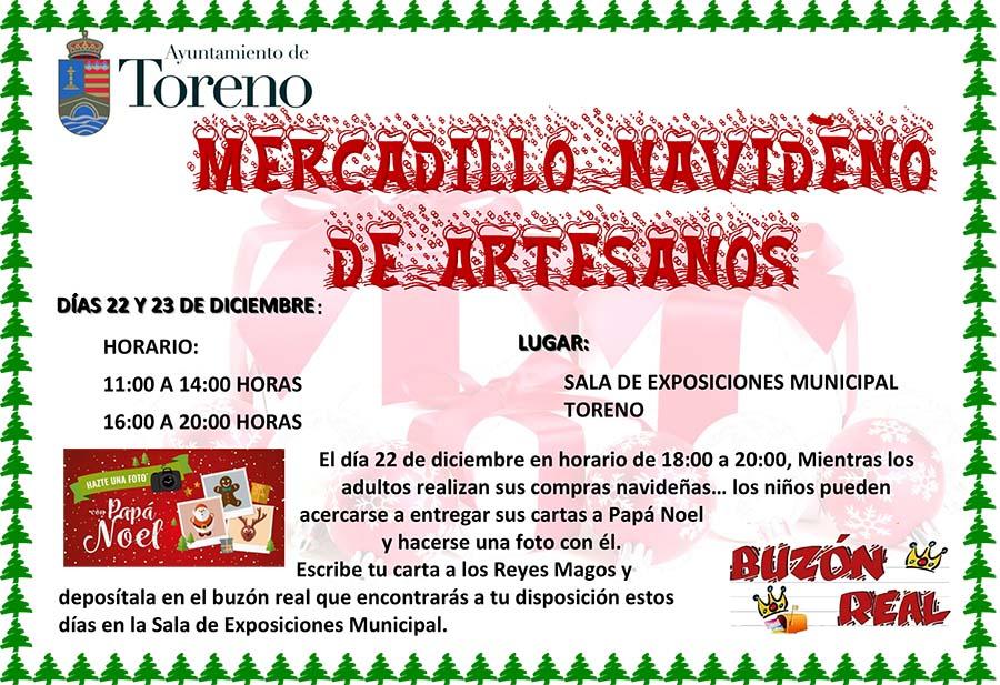 cartel mercadillo navideño de artesanos toreno el birzo