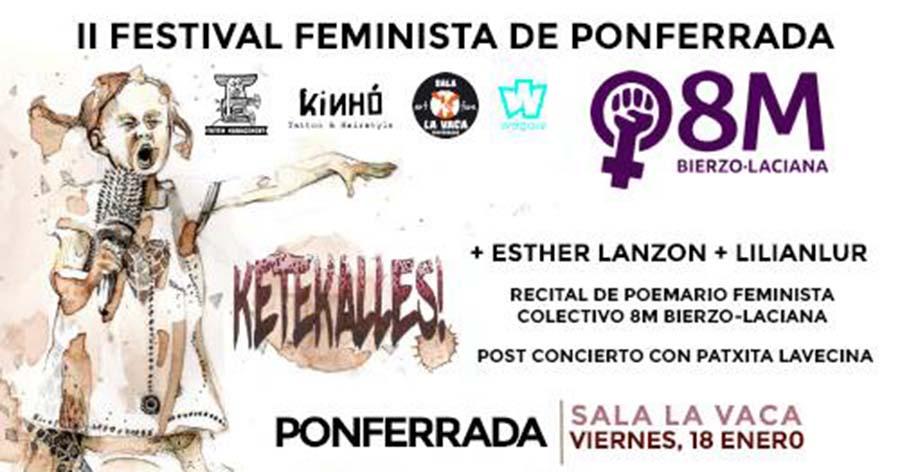 cartel segundo festival feminista de ponferrada en sala la vaca el bierzo