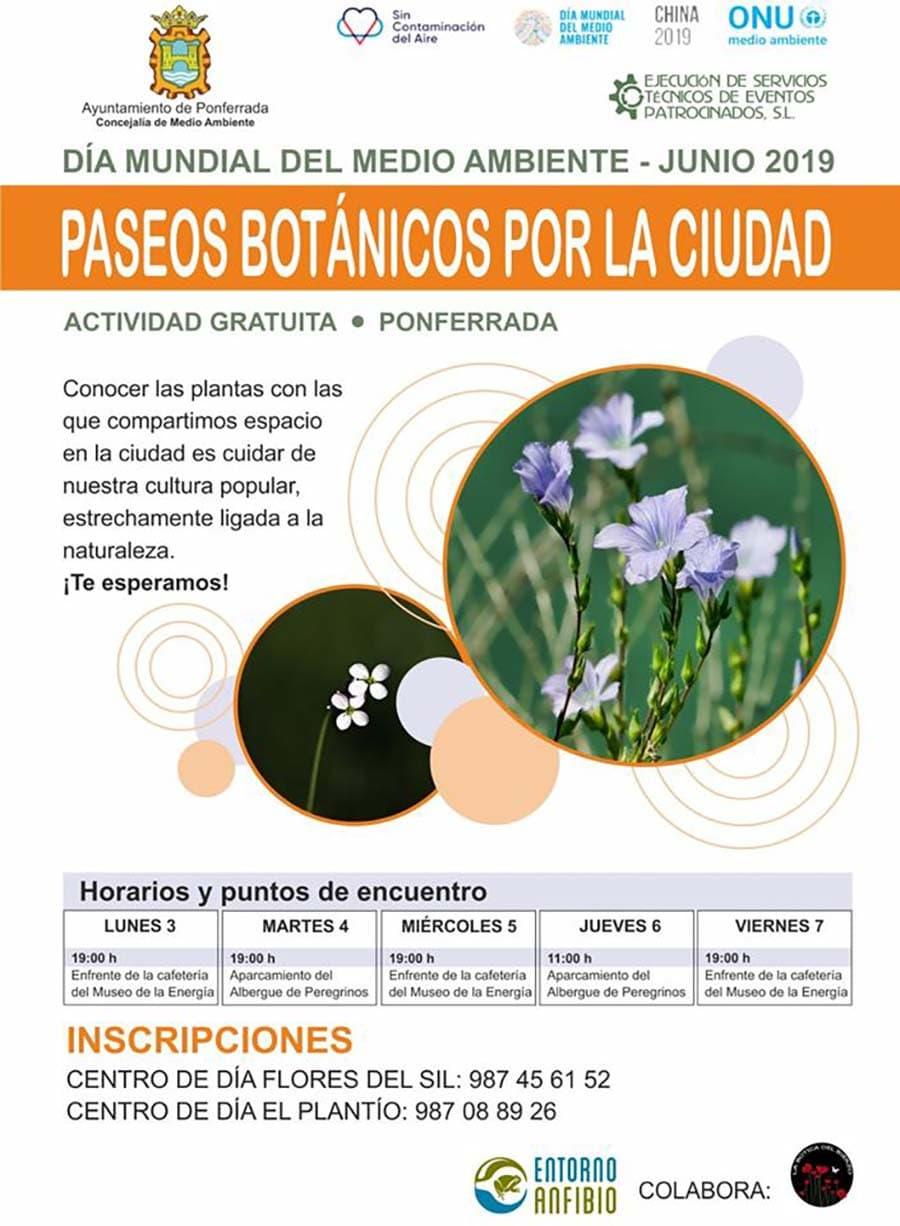 cartel paseos botanicos ciudad ponferrada el bierzo