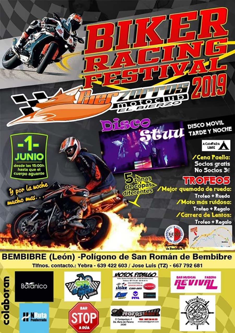 cartel fiesta biker racing bembibre el bierzo