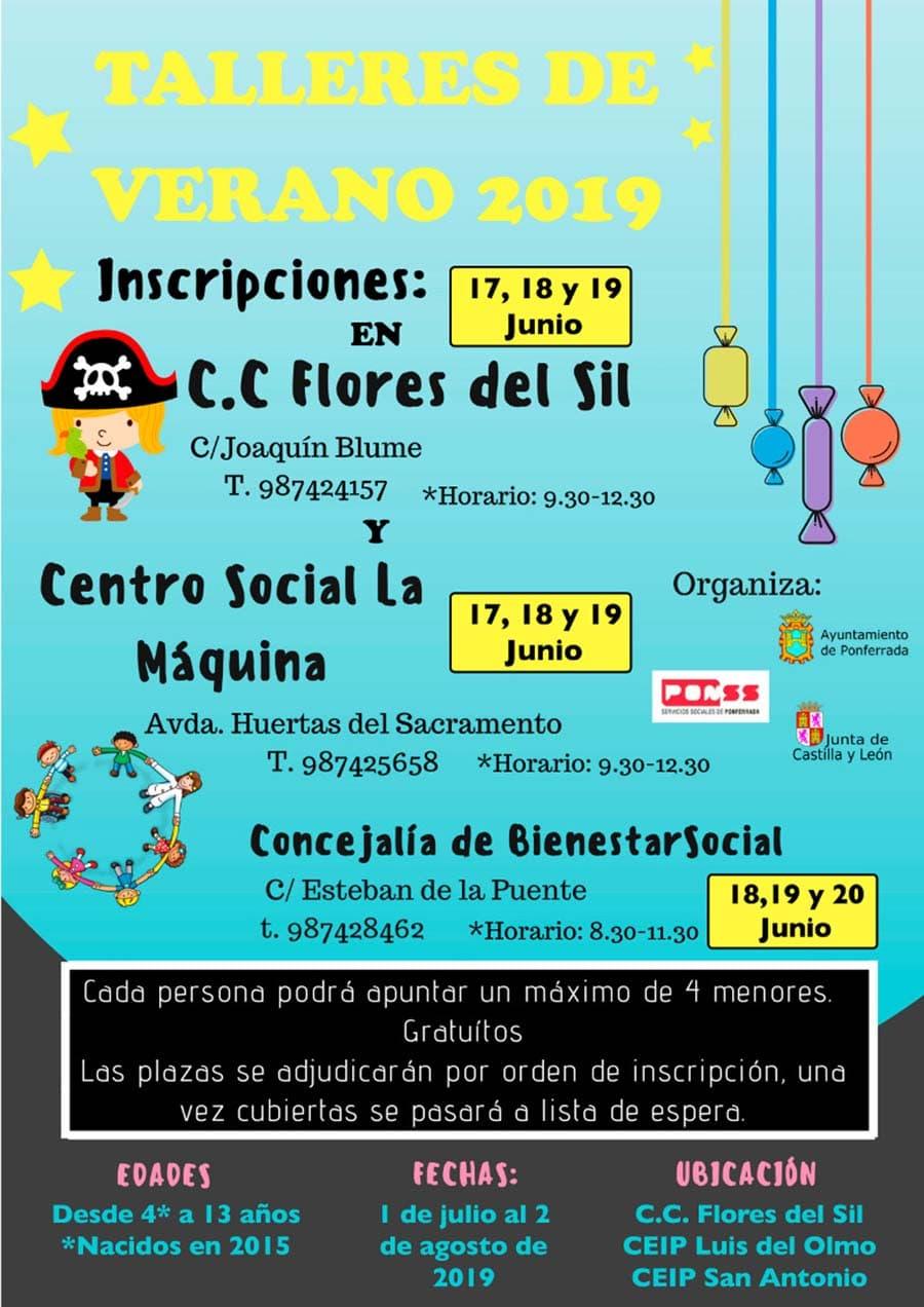 cartel talleres verano19 ayuntamiento ponferrada el bierzo