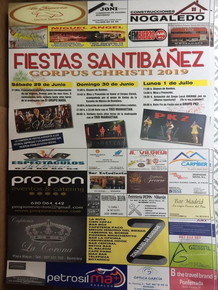 cartel fiestas corpus santibanez toral el bierzo