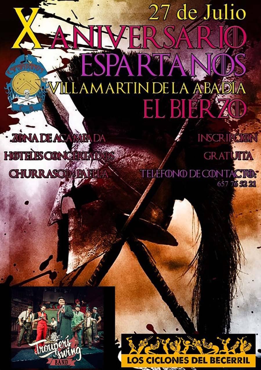 cartel decimo aniversario espartanos cm villamartin de la abadia el bierzo