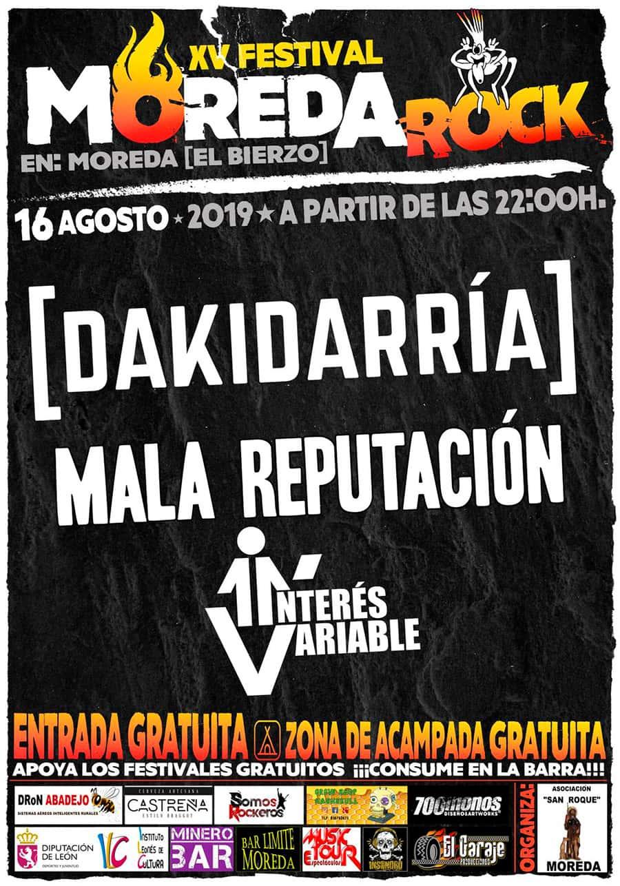 cartel moreda rock festival vega espinareda el bierzo
