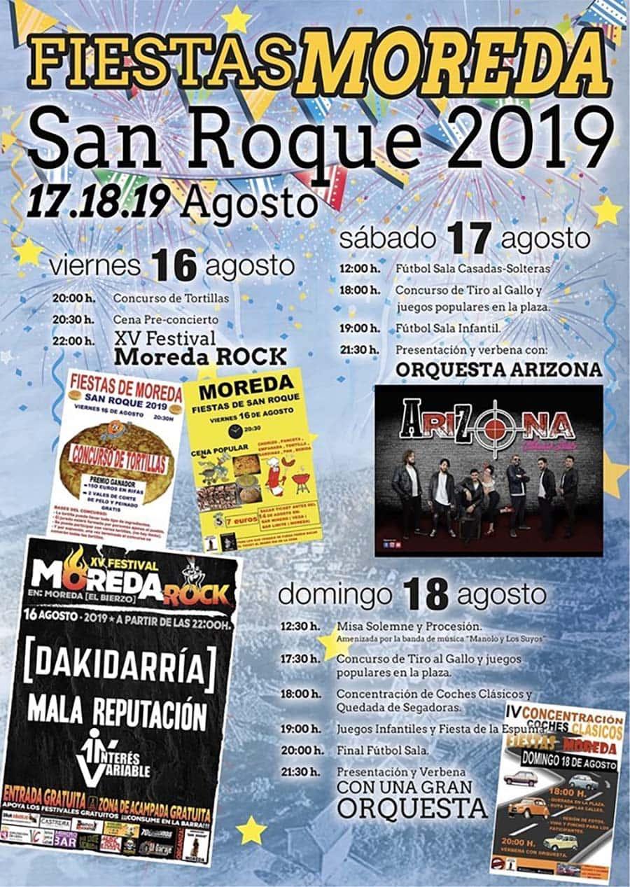 cartel fiesta san roque19 moreda el bierzo
