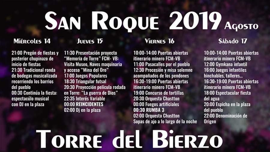 cartel programa fiestas san roque19 torre del bierzo