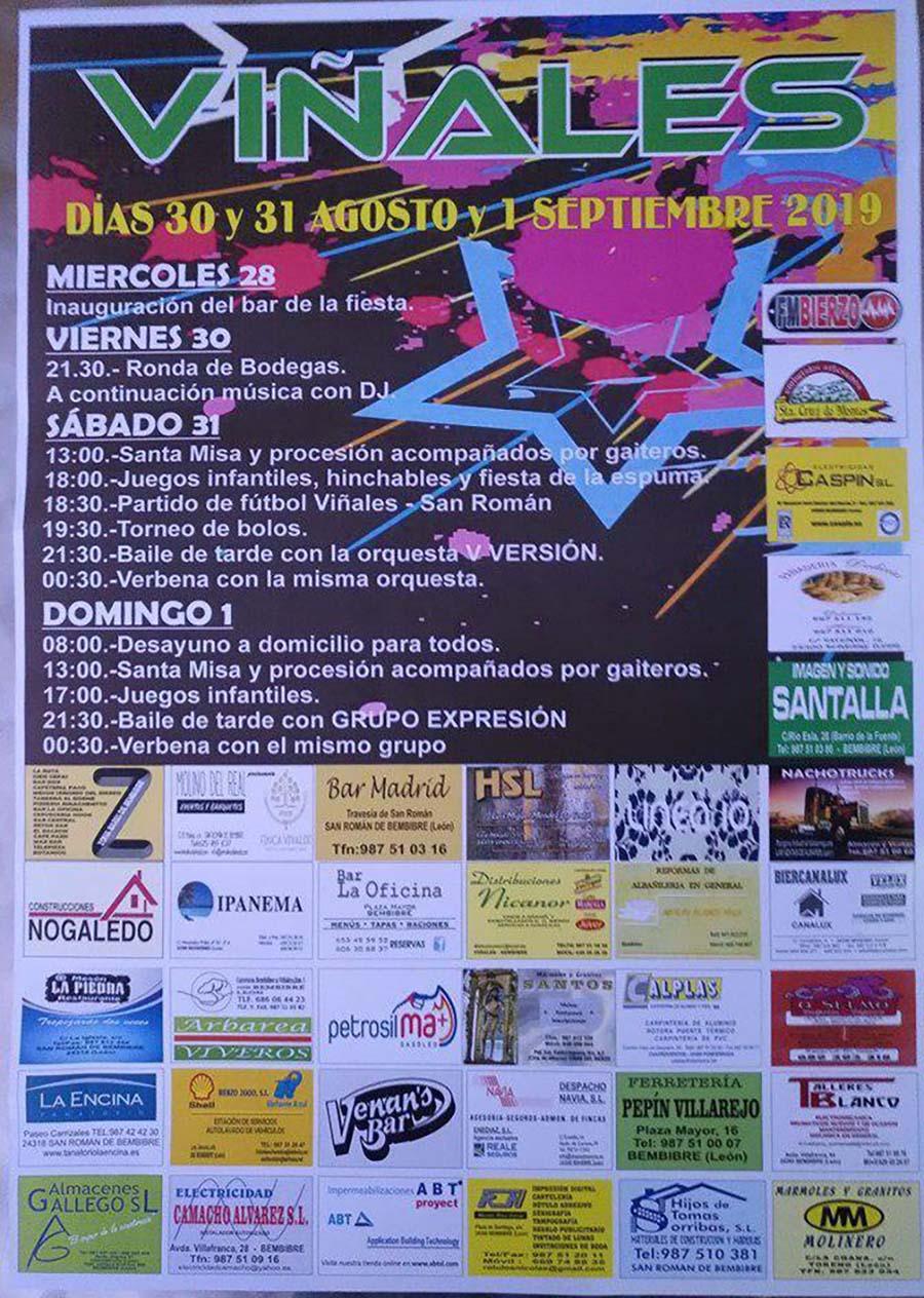cartel programa fiestas19 vinales el bierzo
