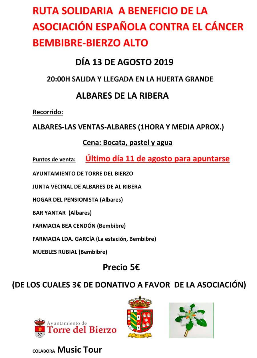 cartel marcha solidaria aecc torre del bierzo albares de la ribera